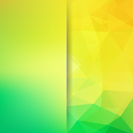 Background of geometric shapes. Blur background with glass. Yellow, green mosaic pattern.  Vector illustration