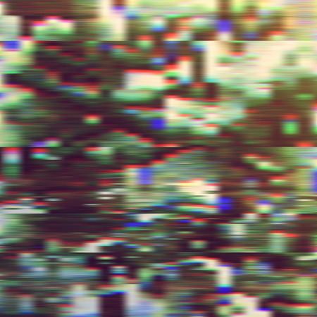 Dark glitch background, vector illustration. Green, brown, white colors.