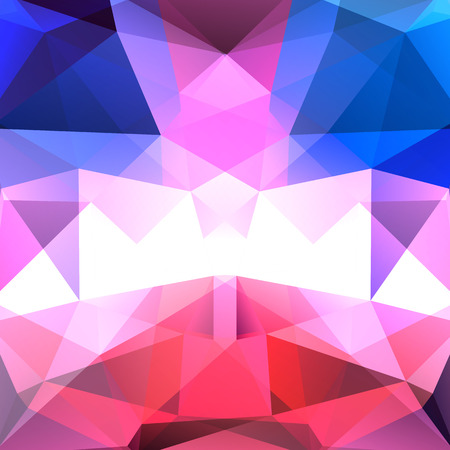 Background made of blue, white, pink triangles. Square composition with geometric shapes.