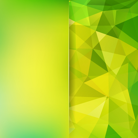 Geometric pattern, polygon triangles background in yellow and green tones. Blur background with glass. Illustration pattern Illustration