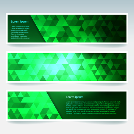 banners set with green polygonal abstract triangles. Abstract polygonal low poly banners.