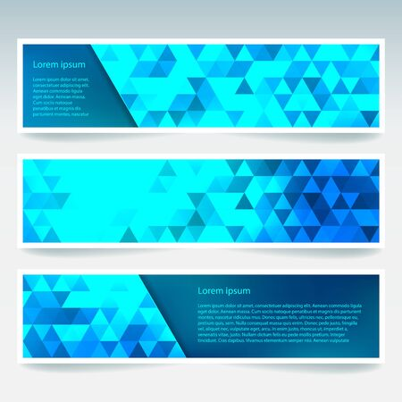 banners set with blue polygonal abstract triangles. Abstract polygonal low poly banners.