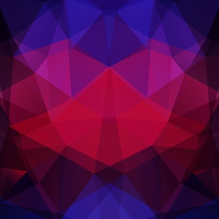 double page: Background made of red, purple, black triangles. Square composition with geometric shapes.