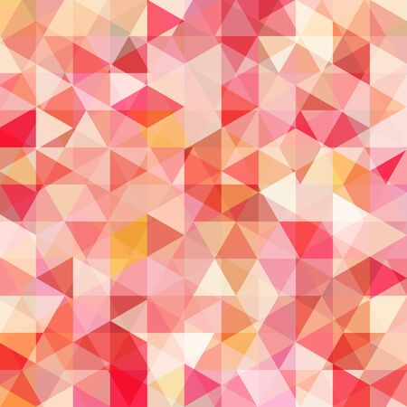 Abstract mosaic background. Triangle geometric background. Design elements. Vector illustration. Red, pink, orange, white colors.