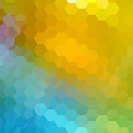 Vector background with yellow, blue hexagons. Can be used in cover design, book design, website background. Vector illustration. Illustration
