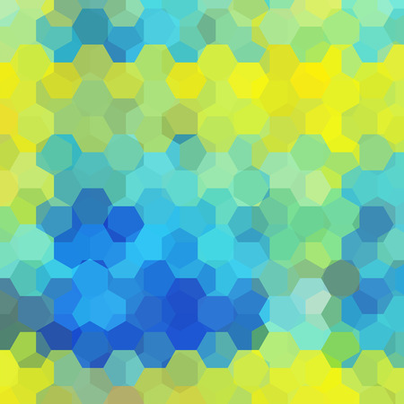 Abstract background consisting of yellow, blue hexagons. Geometric design for business presentations or web template banner. Vector illustration