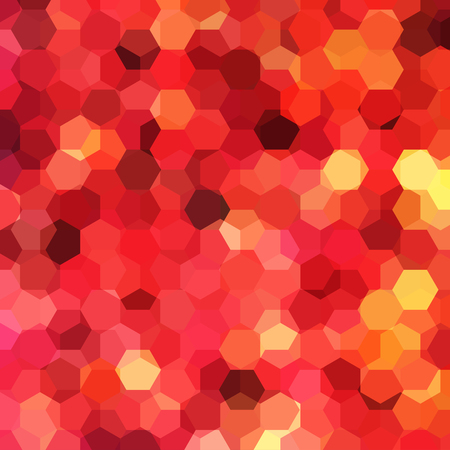 Geometric pattern, vector background with hexagons in red, orange tones. Illustration pattern Illustration