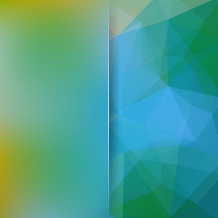 Geometric pattern, polygon triangles vector background in green, blue tones. Blur background with glass. Illustration pattern Stock Photo