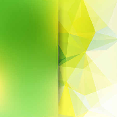 Geometric pattern, polygon triangles vector background in yellow, green tones. Blur background with glass. Illustration pattern.