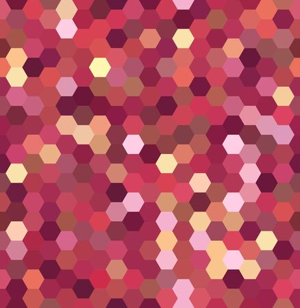 Abstract seamless background consisting of pink, orange hexagons. Geometric design for business presentations or web template banner flyer. Vector illustration.