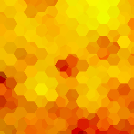 Background made of yellow, orange hexagons. Square composition with geometric shapes. Eps 10