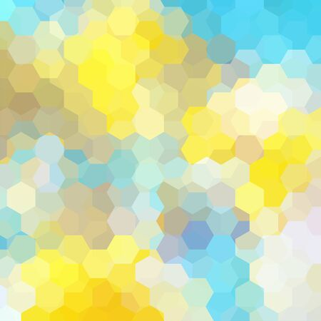 Abstract background consisting of yellow, blue, white hexagons. Geometric design for business presentations or web template