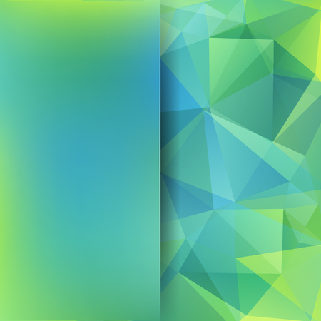 Background made of blue, green triangles. Square composition with geometric shapes and blur element.