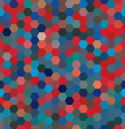 background with red, blue hexagons. Can be used for printing onto fabric and paper or decoration.