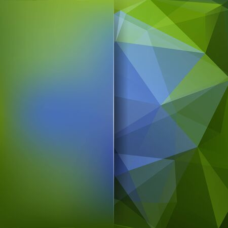 Abstract geometric style background. Blur background with glass. Vector illustration. Blue, green colors. Illustration