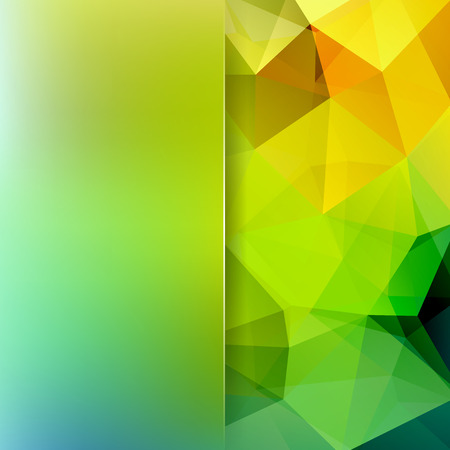 Abstract mosaic background. Blur background. Triangle geometric background. Design elements. Vector illustration. Yellow, green colors.