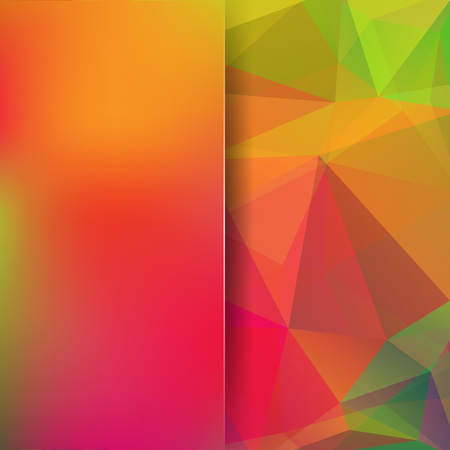 Geometric pattern, polygon triangles vector background in yellow, orange, red, green tones. Blur background with glass. Illustration pattern Illustration