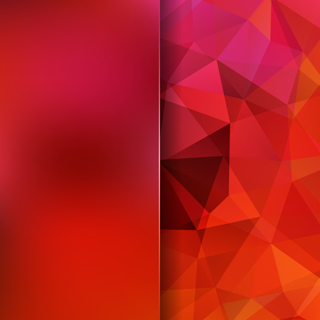 Background of red geometric shapes. Blur background with glass. Mosaic pattern. Vector EPS 10. Vector illustration Illustration