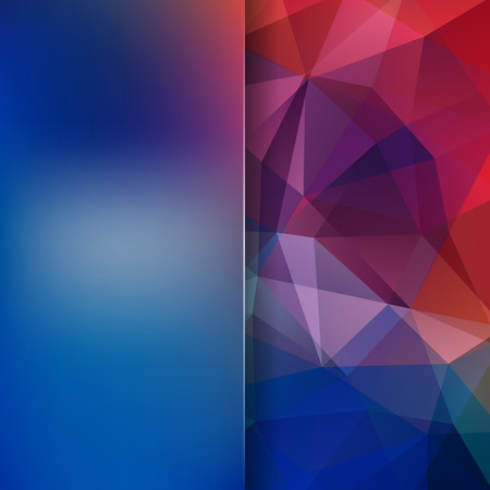Geometric pattern, polygon triangles vector background in blue, red, purple tones. Blur background with glass. Illustration pattern Illustration