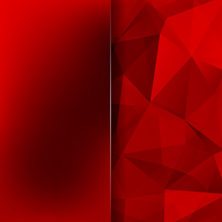 Abstract geometric style red background. Blur background with glass. Vector illustration