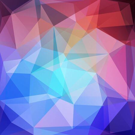 dimension: Abstract mosaic background. Triangle geometric background. Design elements. Vector illustration. Blue, purple, red colors.
