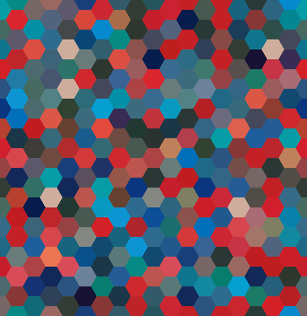Vector background Hexagons. Can be used for printing onto fabric and paper or decoration. Blue, red colors. Illustration