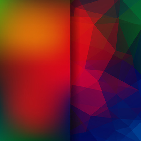 matt: Geometric pattern, polygon triangles vector background in blue, green, red, yellow tones. Blur background with glass. Illustration pattern