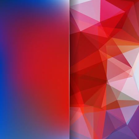 Abstract mosaic background. Blur background. Triangle geometric background. Design elements. Vector illustration. Red, blue colors.