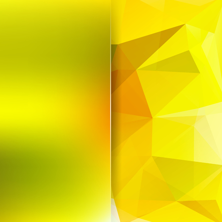 Background made of yellow triangles. Square composition with geometric shapes and blur element.