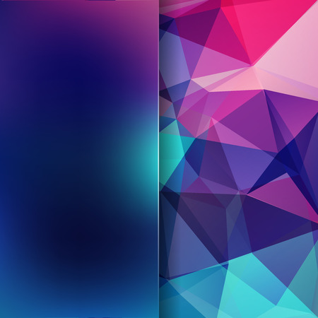 Background of Blue, pink, purple geometric shapes. Blur background with glass. Colorful mosaic pattern. Vector. Vector illustration
