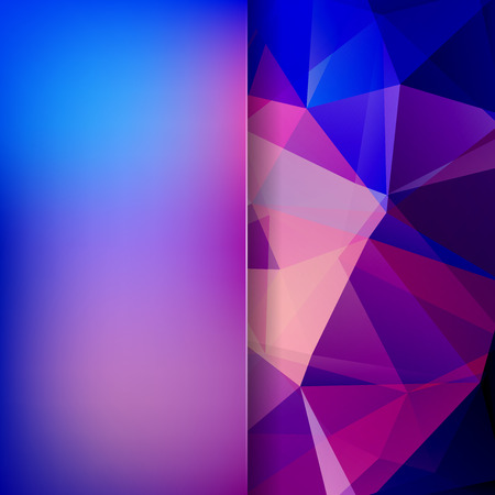 double page: Abstract background consisting of blue, pink, purple triangles. Geometric design for business presentations or web template banner flyer. Vector illustration