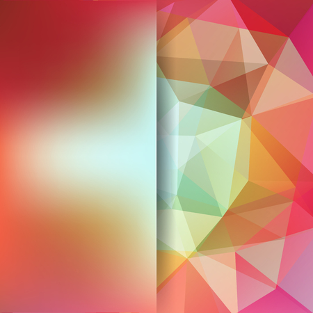 Background of orange, green, pink, white geometric shapes. Blur background with glass. Colorful mosaic pattern. Vector EPS 10. Vector illustration
