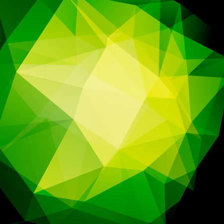 dimensions: Geometric pattern, polygon triangles vector background in green, yellow tones. Illustration pattern