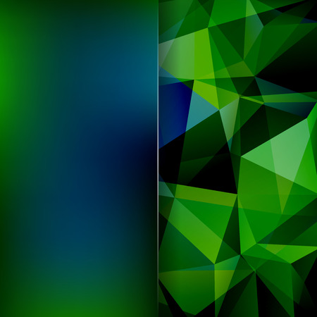 dimensions: Polygonal background. Blur background. Can be used in cover design, book design, website background. illustration. Green, blue, black colors.