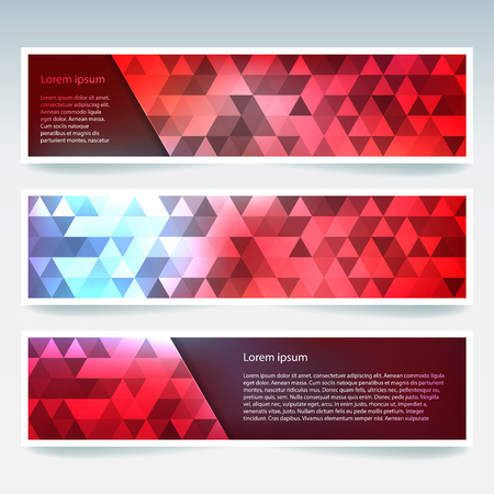 Set of banner templates with abstract background, Modern vector banners with polygonal background; red, blue, orange colors.