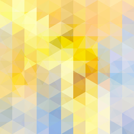 Abstract mosaic background. Triangle geometric background. Design elements. Vector illustration. Yellow, beige, blue colors.