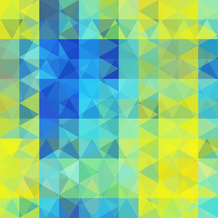 dimension: Background made of yellow, green, blue triangles. Square composition with geometric shapes. Eps 10