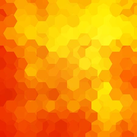 Abstract background consisting of yellow, red, orange hexagons. Geometric design for business presentations or web template banner flyer. Vector illustration
