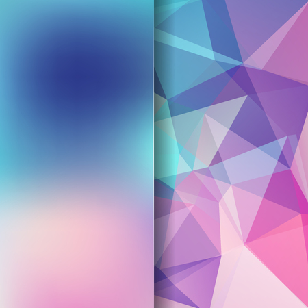 Background of pink, blue geometric shapes. Blur background with glass. Colorful mosaic pattern. Vector EPS 10. Vector illustration