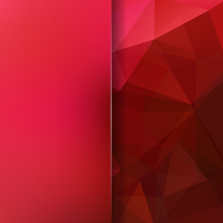 Background made of red triangles. Square composition with geometric shapes and blur element.