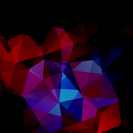 Polygonal vector background. Can be used in cover design, book design, website background. Vector illustration. Black, red, blue colors.