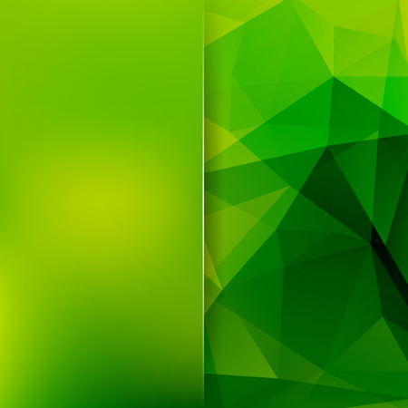 Background of green geometric shapes. Blur background with glass. Colorful mosaic pattern. Vector EPS 10. Vector illustration Illustration