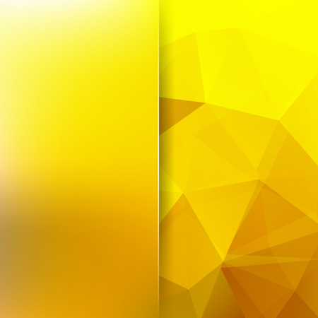 Background made of yellow triangles. Square composition with geometric shapes and blur element. Eps 10 Illustration