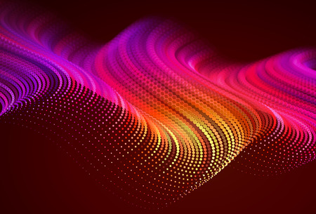 styleAbstract colorful digital landscape with flowing particles. Cyber or technology background. Red, pink, orange colors.