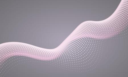 抽象的なデジタル背景流れる粒子。ピンク、グレー色。
