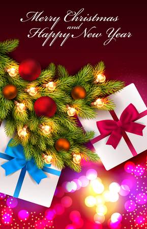 Red background with fir tree branches. Winter background with presents Illustration