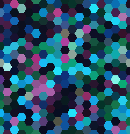 Abstract seamless background consisting of blue, black, purple hexagons. Geometric design for business presentations or web template banner flyer. Vector illustration