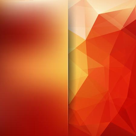 Background made of red, orange triangles. Square composition with geometric shapes and blur element. Eps 10