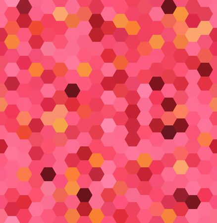 Abstract seamless background consisting of pink, red hexagons. Geometric design for business presentations or web template banner flyer. Vector illustration