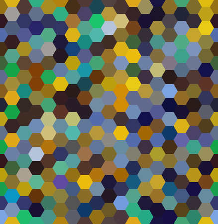 Vector background with brown, blue, black, green hexagons. Can be used for printing onto fabric and paper or decoration.